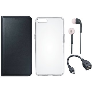 Oppo A37f Leather Flip Cover with Silicon Back Cover, Earphones and OTG Cable (Black) by Vivacious