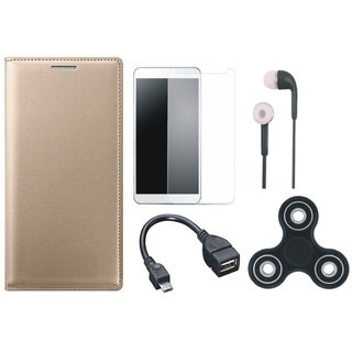 Vivo Y53 Flip Cover with Spinner, Tempered Glass, Earphones and OTG Cable by Vivacious ( Gold )