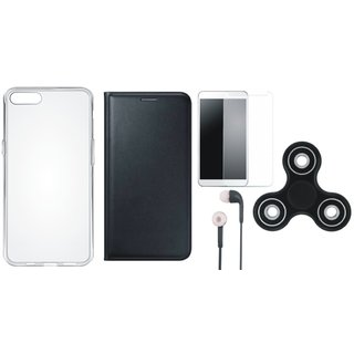 Oppo A37f Premium Leather Cover with Spinner, Silicon Back Cover, Tempered Glass and Earphones (Black) by Vivacious