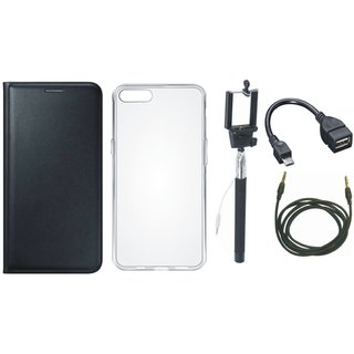 Vivo Y53 Stylish Leather Cover with Silicon Back Cover, Selfie Stick, OTG Cable and AUX Cable by Vivacious ( Black )