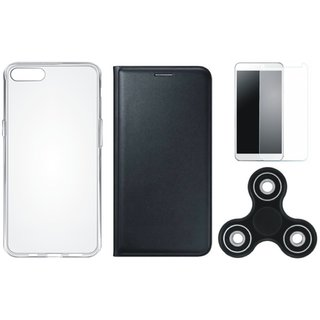 Vivo Y53 Premium Leather Cover with Spinner, Silicon Back Cover, Tempered Glass by Vivacious ( Black )