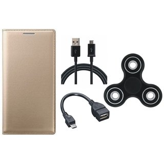 Vivo Y53 Stylish Leather Cover with Spinner, OTG Cable and USB Cable by Vivacious ( Gold )