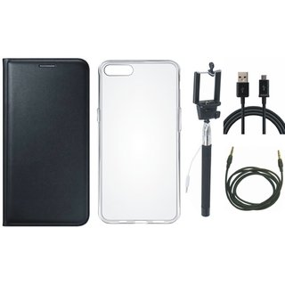 Oppo A37f Leather Flip Cover with Silicon Back Cover, Selfie Stick, USB Cable and AUX Cable (Black) by Vivacious