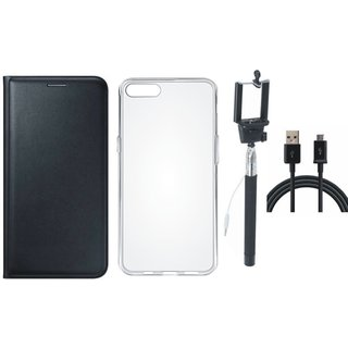 Oppo A37f Leather Flip Cover with Silicon Back Cover, Selfie Stick and USB Cable (Black) by Vivacious