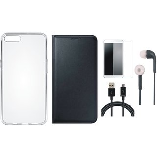 Oppo A37f Premium Leather Cover with Silicon Back Cover, Earphones, Tempered Glass and USB Cable by Vivacious ( Black )
