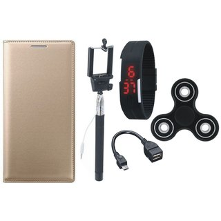 Oppo A37f Flip Cover with Spinner, Selfie Stick, Digtal Watch and OTG Cable by Vivacious ( Gold )