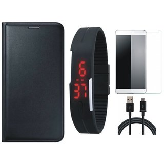 Moto C Leather Flip Cover with Free Digital LED Watch, Tempered Glass and USB Cable (Black) by Vivacious