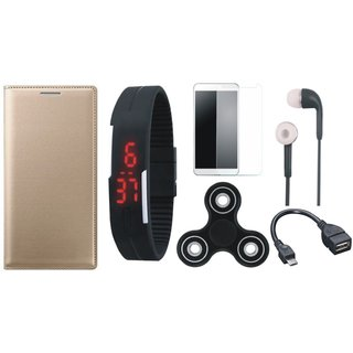 Oppo A37f Premium Leather Cover with Free Spinner, Digital LED Watch, Tempered Glass, Earphones and OTG Cable by Vivacious ( Gold )
