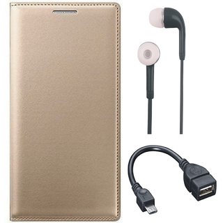 Oppo A37f Flip Cover with Earphones and OTG Cable by Vivacious ( Gold )
