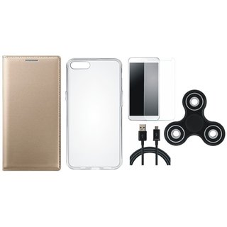Oppo A37f Premium Leather Cover with Spinner, Silicon Back Cover, Tempered Glass and USB Cable by Vivacious ( Gold )