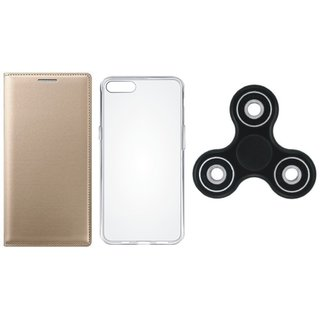 Oppo A37f Stylish Leather Cover with Spinner, Silicon Back Cover by Vivacious ( Gold )