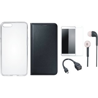 Oppo A37f Flip Cover with Silicon Back Cover, Tempered Glass, Earphones and OTG Cable (Black) by Vivacious