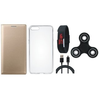Oppo A37f Premium Leather Cover with Spinner, Silicon Back Cover, Digital Watch and USB Cable by Vivacious ( Gold )