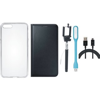 Oppo A37f Premium Leather Cover with Silicon Back Cover, Selfie Stick, USB LED Light and USB Cable by Vivacious ( Black )