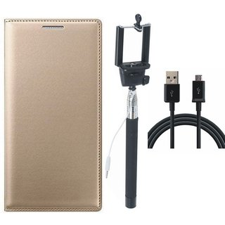 Moto C Leather Flip Cover with Selfie Stick and USB Cable (Gold ) by Vivacious