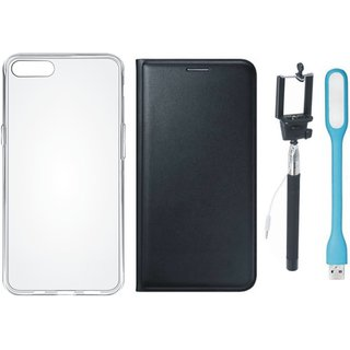 Oppo A37f Stylish Leather Cover with Silicon Back Cover, Selfie Stick and USB LED Light by Vivacious ( Black )