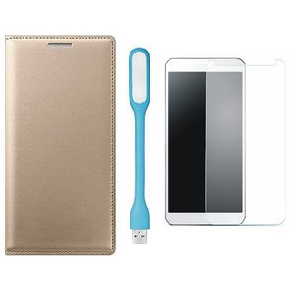 Oppo A37f Stylish Leather Cover with Tempered Glas and USB LED Light by Vivacious ( Gold )