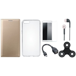 Oppo A37f Stylish Leather Cover with Spinner, Silicon Back Cover, Tempered Glass, Earphones and OTG Cable by Vivacious ( Gold )