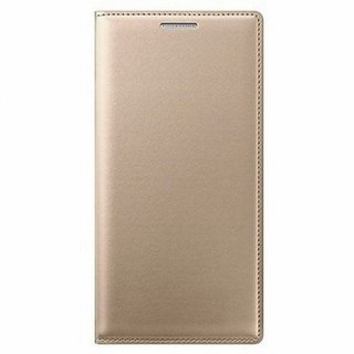 Oppo A37f Premium Leather Cover with Free Silicon Back Cover by Vivacious ( Gold )