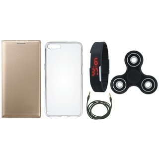 Oppo A37f Premium Leather Cover with Spinner, Silicon Back Cover, Digital Watch and AUX Cable by Vivacious ( Gold )