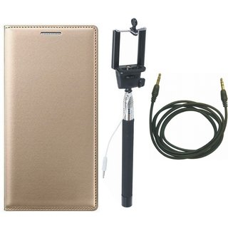 Moto C Leather Flip Cover with Selfie Stick and AUX Cable (Gold ) by Vivacious