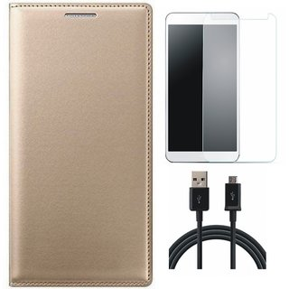 Oppo A37f Flip Cover with Tempered Glass and USB Cable by Vivacious ( Gold )