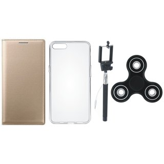 Oppo A37f Stylish Leather Cover with Spinner, Silicon Back Cover and Selfie Stick by Vivacious ( Gold )