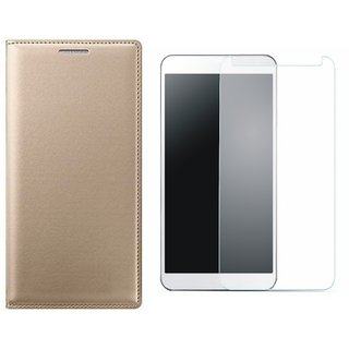 Oppo A37f Stylish Leather Cover with Tempered Glass by Vivacious ( Gold )