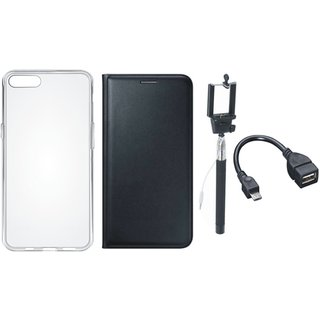 Oppo A37f Flip Cover with Silicon Back Cover, Selfie Stick and OTG Cable (Black) by Vivacious
