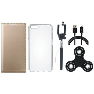 Oppo A37f Flip Cover with Spinner, Silicon Back Cover, Selfie Stick and USB Cable by Vivacious ( Gold )