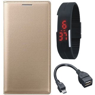 Oppo A37f Stylish Leather Cover with Digital Watch and OTG Cable by Vivacious ( Gold )