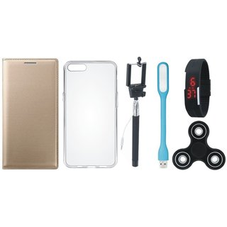 Oppo A37f Stylish Leather Cover with Spinner, Silicon Back Cover, Selfie Stick, Digtal Watch and USB LED Light by Vivacious ( Gold )
