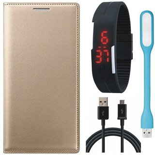 Oppo A37f Stylish Leather Cover with Digital Watch, USB LED Light and USB Cable by Vivacious ( Gold )
