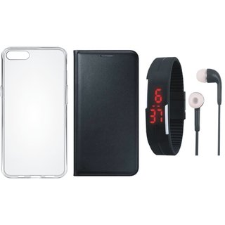 Moto C Leather Flip Cover with Silicon Back Cover, Digital Watch and Earphones (Black) by Vivacious