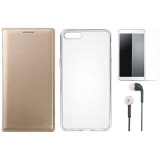 Oppo A37f Premium Leather Cover with Silicon Back Cover, Earphones and Tempered Glass by Vivacious ( Gold )