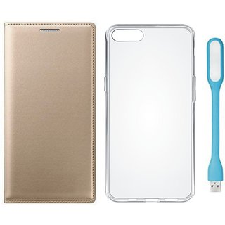 Moto C Leather Flip Cover with Silicon Back Cover, USB LED Light (Gold ) by Vivacious