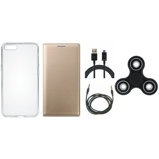 Oppo A37f Premium Leather Cover with Spinner, Silicon Back Cover, USB Cable and AUX Cable by Vivacious ( Gold )