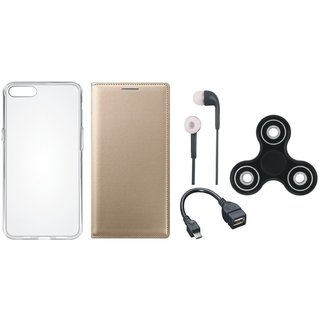 Oppo A37f Stylish Leather Cover with Spinner, Silicon Back Cover, Earphones and OTG Cable by Vivacious ( Gold )
