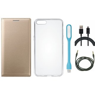 Moto C Leather Flip Cover with Silicon Back Cover, USB LED Light, USB Cable and AUX Cable (Gold ) by Vivacious