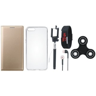 Moto C Premium Leather Cover with Spinner, Silicon Back Cover, Selfie Stick, Digtal Watch and Earphones (Gold ) by Vivacious