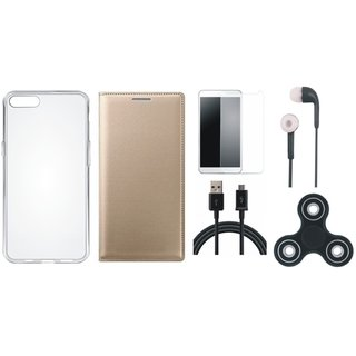 Oppo A37f Stylish Leather Cover with Spinner, Silicon Back Cover, Tempered Glass, Earphones and USB Cable by Vivacious ( Gold )