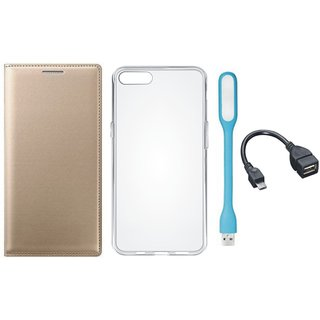 Oppo A37f Stylish Leather Cover with Silicon Back Cover, USB LED Light and OTG Cable by Vivacious ( Gold )
