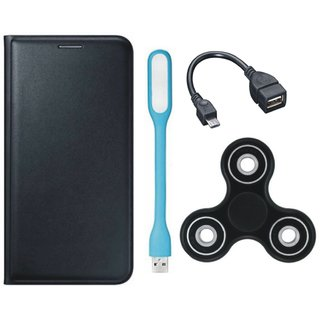 Oppo A37f Premium Leather Cover with Spinner, USB LED Light and OTG Cable by Vivacious ( Black )