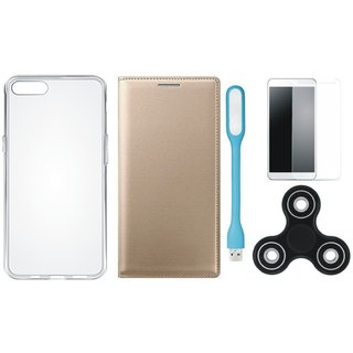 Oppo A37f Premium Leather Cover with Spinner, Silicon Back Cover, Tempered Glas and USB LED Light by Vivacious ( Gold )