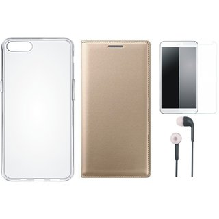Oppo A37f Stylish Leather Cover with Silicon Back Cover, Tempered Glass and Earphones by Vivacious ( Gold )