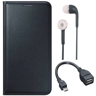 Moto C Leather Flip Cover with Earphones and OTG Cable (Black) by Vivacious