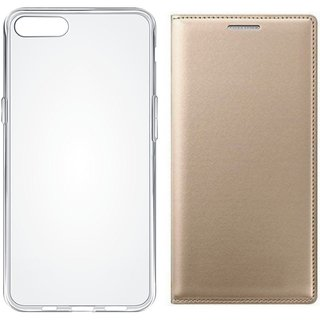 Moto C Leather Flip Cover with Silicon Back Cover (Gold ) by Vivacious