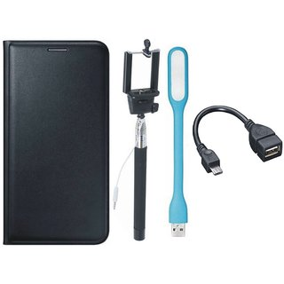 Moto C Premium Leather Cover with Selfie Stick, LED Light and OTG Cable by Vivacious ( Black )