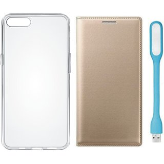 Oppo A37f Stylish Leather Cover with Silicon Back Cover, USB LED Light by Vivacious ( Gold )