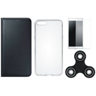 Moto C Premium Leather Cover with Spinner, Silicon Back Cover, Tempered Glass by Vivacious ( Black )